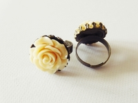 Bronzefarbener Ring - Creme Rose -